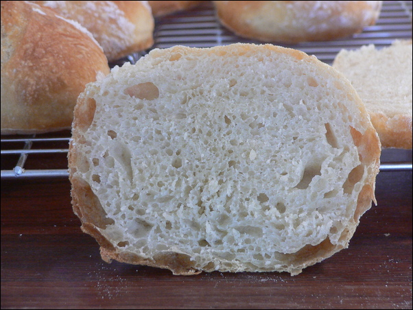 Pain rustique rolls, crust and crumb